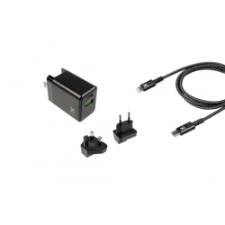 Chargeur de voyage Lightning 18W pour smartphones et tablettes - Noir