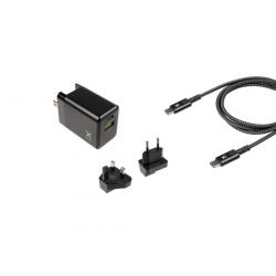 Chargeur de voyage USB-C 18W pour smartphones et tablettes - Noir