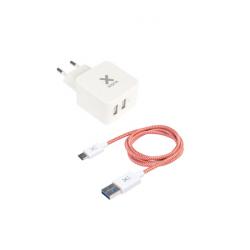Chargeur secteur prise double USB + 1 câble USB vers USB-C