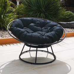 GALAXY coiler chair in galvanized gray metal and polyester cushion