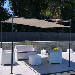 Freestyle freestanding gazebo in anthracite-colored metal 3x3x2.2m - sold with adjustable canvas - steel posts
